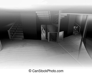 rendering, open space, clean room with shapes in 3d, business space and work