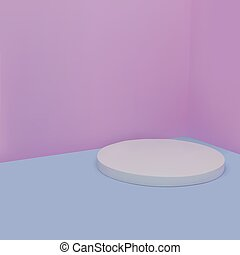 rendering., podio, vector, mínimo, blanco, pastel, redondo, ...