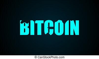 rendering., résumé, text., bitcoin, arrière-plan., numérique, 3d