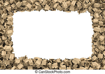 Rendering rectangular frame made of light beige cardboard mail boxes lying at the edges with white empty space in the middle.