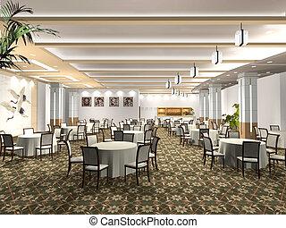 Rendering restaurant - Chinese style restaurant 3D rendering