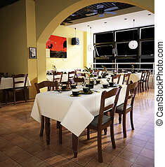 Rendering restaurant - restaurant 3D rendering