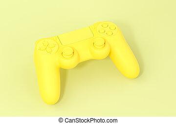rendering., spiel, gelbes polster, 3d, hintergrund, klassisch