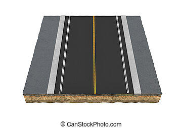 Rendering square piece of asphalt road isolated on the white...