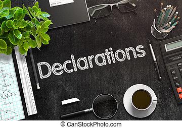 rendering., testo, declarations, -, nero, chalkboard., 3d