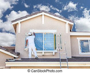 rendes, épület festmény, szobafestő, profi, home., zsalu