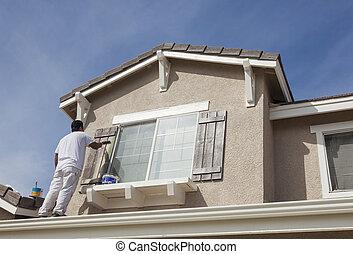 rendes, épület, zsalu, otthon, festmény, szobafestő