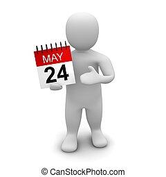 rendido, aislado, ilustración, calendar., white., tenencia, 3d, hombre