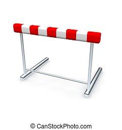 rendido, aislado, ilustración, white., hurdle., 3d