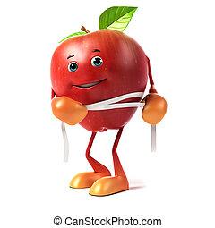 rendido, carácter, manzana, ilustración, 3d