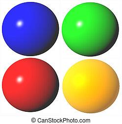 rendido, coloreado, resumen, alto, esferas, calidad, 3d