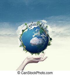 rendido, globe., backgrou, mano, ambiental, hembra, tierra, ...