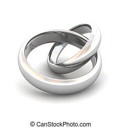 rendido, illustration., articulado, rings., boda, 3d