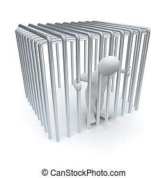 rendido, illustration., cage., hombre, encarcelado, 3d