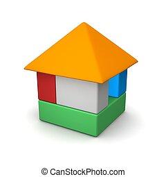 rendido, illustration., color, casa, blocks., 3d, construido