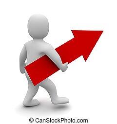 rendido, illustration., señalar, grande, flecha arriba, hombre, rojo, 3d