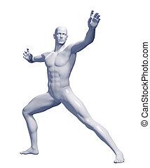 rendido, macho, Ilustración,  3D