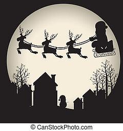 rendier, arreslee, kerstman