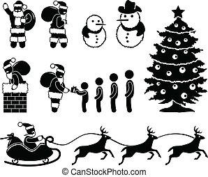 rendier, claus, kerstmis, kerstman