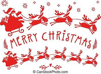 rendier, claus, vector, kerstman, arreslee, kerstmis, eland