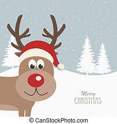 rendier, hoedje, kerstman, besneeuwd