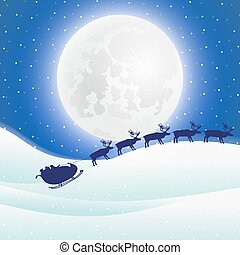 rendier, in, gareel, met, arreslee, santa claus, voor, kerstmis