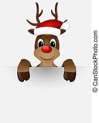 rendier, rode neus, kerstman, hat.