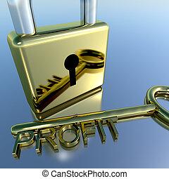 rendimento, lucro, mostrando, padlock, crescimento, salário,...