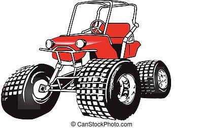 rendimiento, carrito, golf, alto