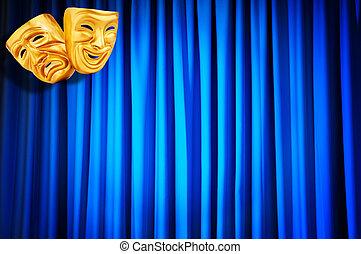 rendimiento, concepto, teatro, máscaras