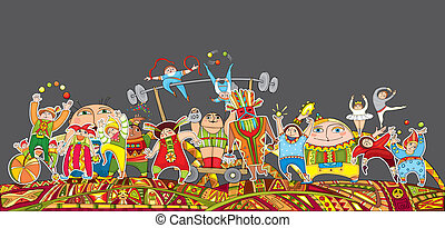 rendimiento, desfile de circo, multitud