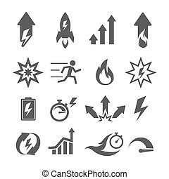 rendimiento, iconos, acción, vector, crecimiento, eficiencia