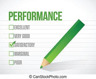 rendimiento, satisfactorio, revisión, ilustración