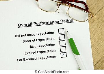 rendimiento, total, clasificación