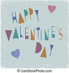 rendkívüli, valentines, tervezés, betűtípus, nap, kártya, boldog