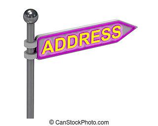 """rendre, 3d, """"address"""", or, signe"""