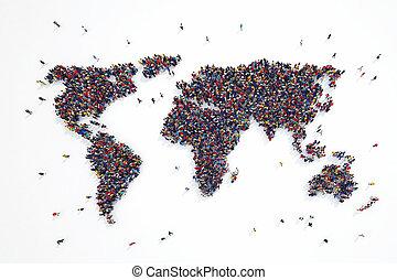 rendre, 3d, mondiale, gens