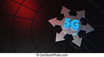 rendre, bannière, 5g, technologie, 3d
