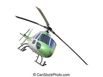 rendre, blanc, 3d, hélicoptère