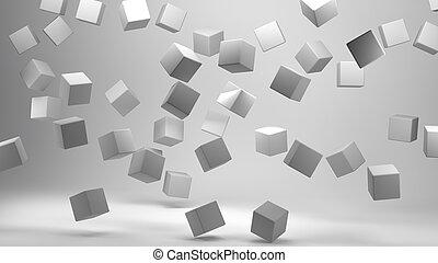 rendre, blanc, cubes, 3d