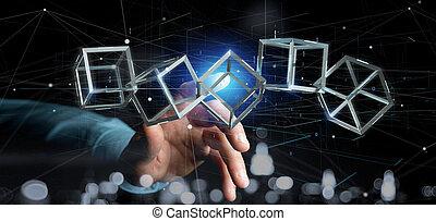 rendre, blockchain, tenue, cube, isolé, fond, homme, 3d