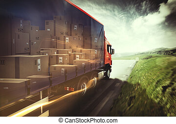 rendre, camion, road., 3d