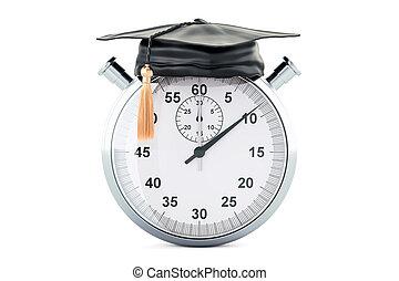 rendre, cap., chronomètre, remise de diplomes, 3d