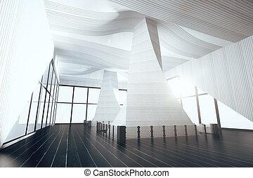 rendre, clair, moderne, intérieur,  3D