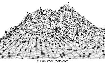 rendre, concept., réseau global, 3d
