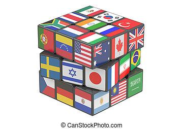 rendre, cube, 3d, mondiale, drapeaux