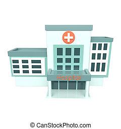 rendre, hôpital, 3d, blanc, arrière-plan.