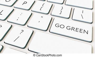 rendre, informatique, vert, key., aller, clavier, conceptuel, blanc, 3d