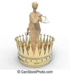 rendre, justice, themis, déesse, couronne or, 3d