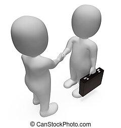 rendre, mains, accord, indique, liaison, hommes affaires, secousse, 3d